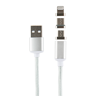 Дата-кабель Магнитный Red Line USB -Type-C/8 - pin/micro USB Silver